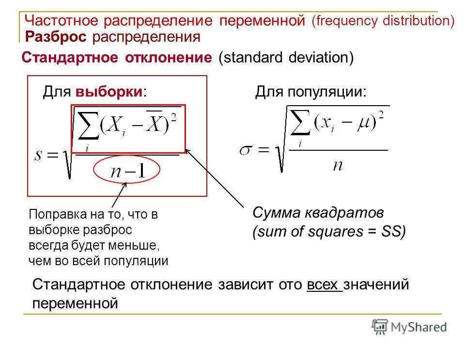 Стандартное отклонение (standard deviation) Частотное распределение переменной (frequency distribution) Разброс распределения Для выборки:Для популяции: Поправка на то, что в выборке разброс всегда будет меньше, чем во всей популяции Стандартное откл