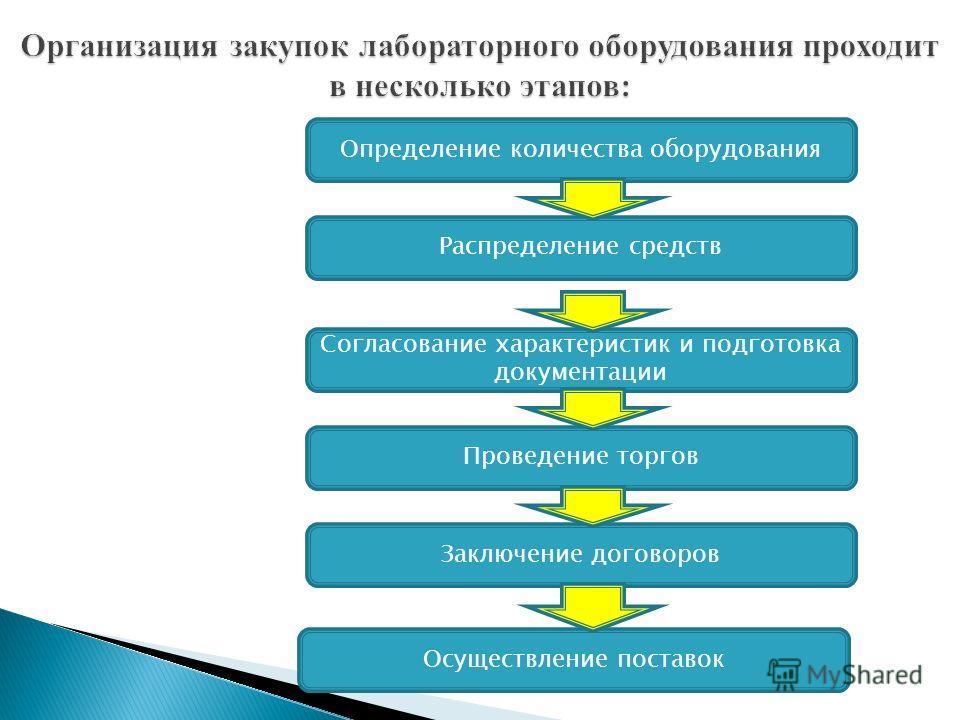 Определение количества оборудования Распределение средств Согласование характеристик и подготовка документации Проведение торгов Заключение договоров Осуществление поставок