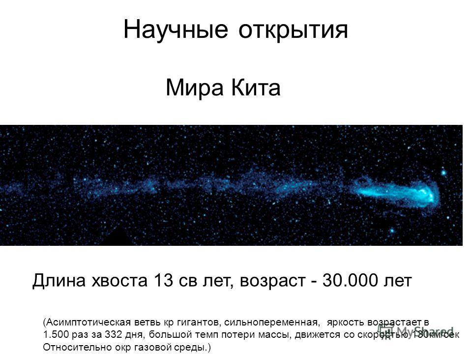 Научные открытия Мира Кита (Асимптотическая ветвь кр гигантов, сильнопеременная, яркость возрастает в 1.500 раз за 332 дня, большой темп потери массы, движется со скоростью 130км/сек Относительно окр газовой среды.) Длина хвоста 13 св лет, возраст -