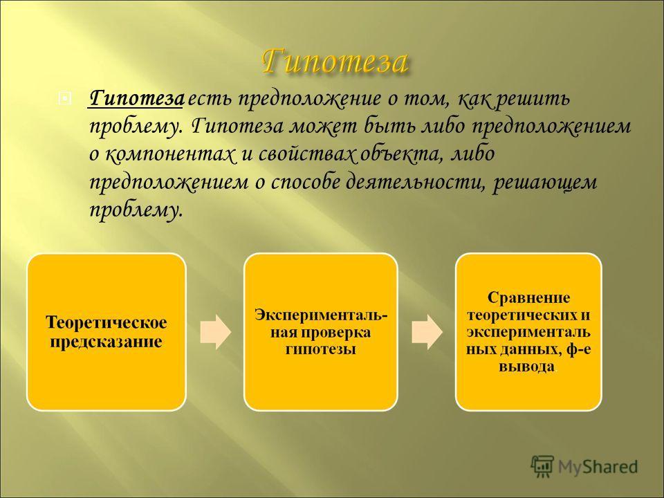 Гипотеза есть предположение о том, как решить проблему. Гипотеза может быть либо предположением о компонентах и свойствах объекта, либо предположением о способе деятельности, решающем проблему.