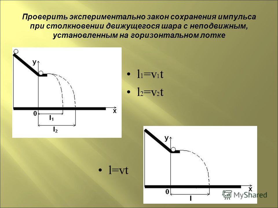 Проверить экспериментально закон сохранения импульса при столкновении движущегося шара с неподвижным, установленным на горизонтальном лотке l 1 =v 1 t l 2 =v 2 t l=vt