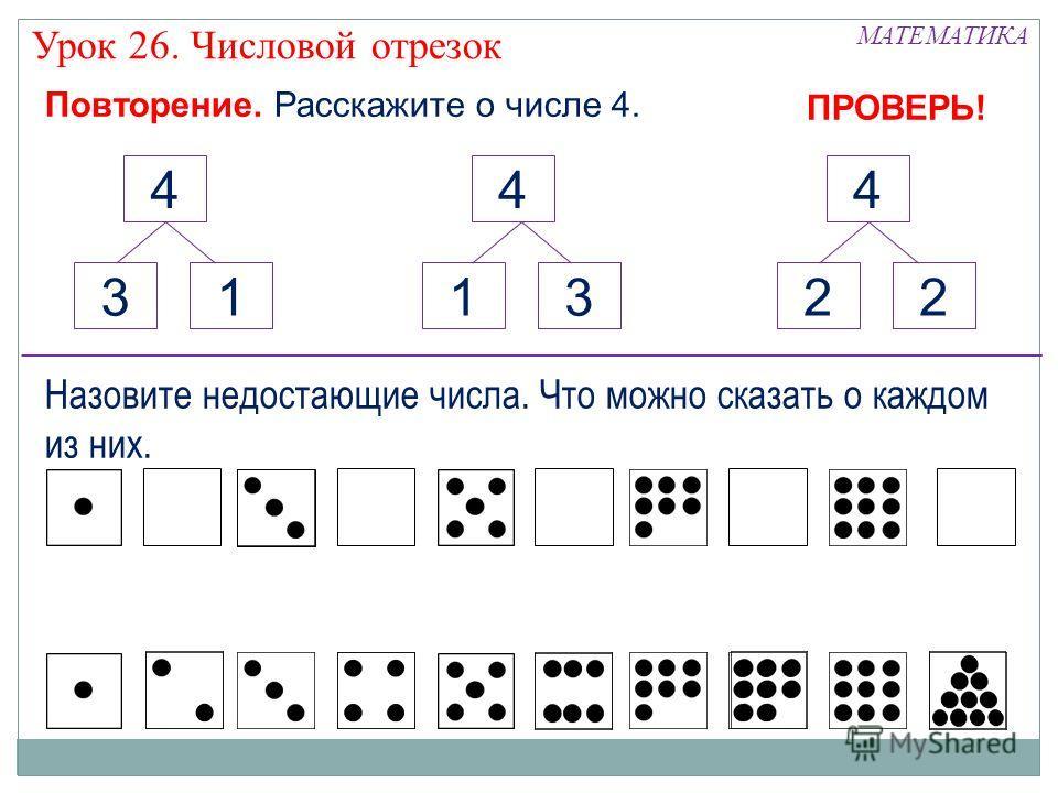 Повторение. Расскажите о числе 4. 4 1 4 3 4 2 132 МАТЕМАТИКА Урок 26. Числовой отрезок Назовите недостающие числа. Что можно сказать о каждом из них. ПРОВЕРЬ!