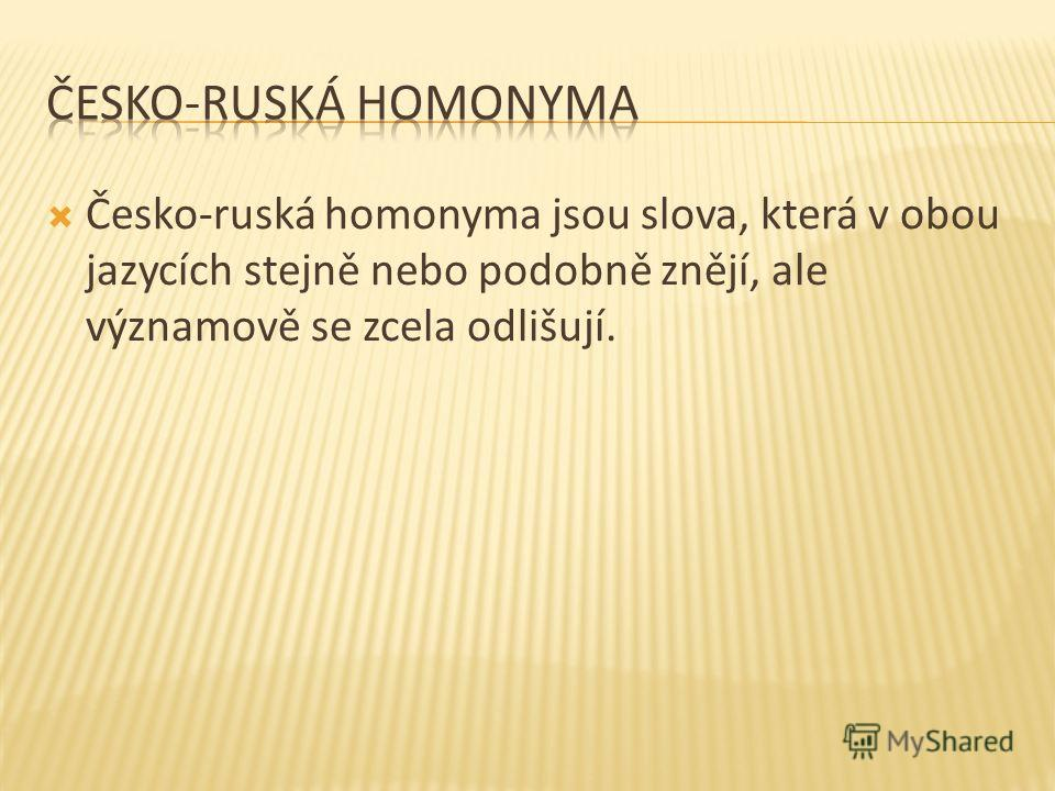 Česko-ruská homonyma jsou slova, která v obou jazycích stejně nebo podobně znějí, ale významově se zcela odlišují.
