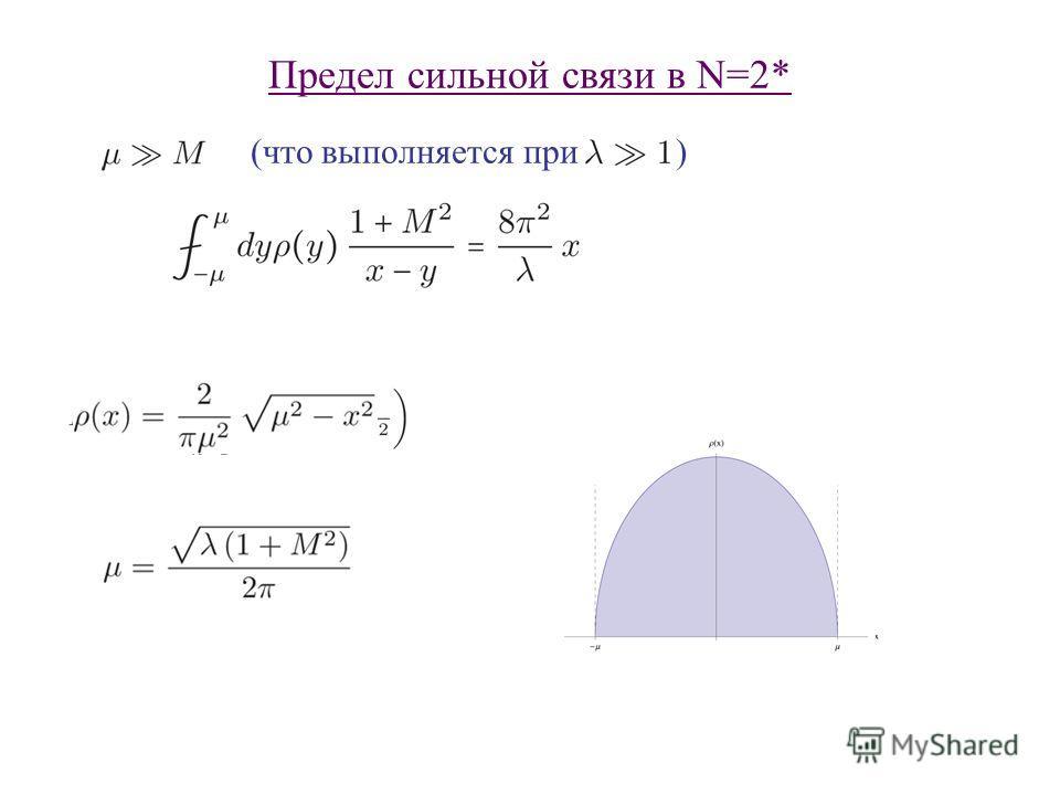 Предел сильной связи в N=2* (что выполняется при )