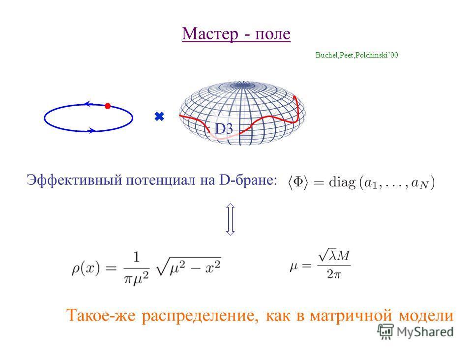 Мастер - поле Buchel,Peet,Polchinski00 D3 Эффективный потенциал на D-бране: Такое-же распределение, как в матричной модели
