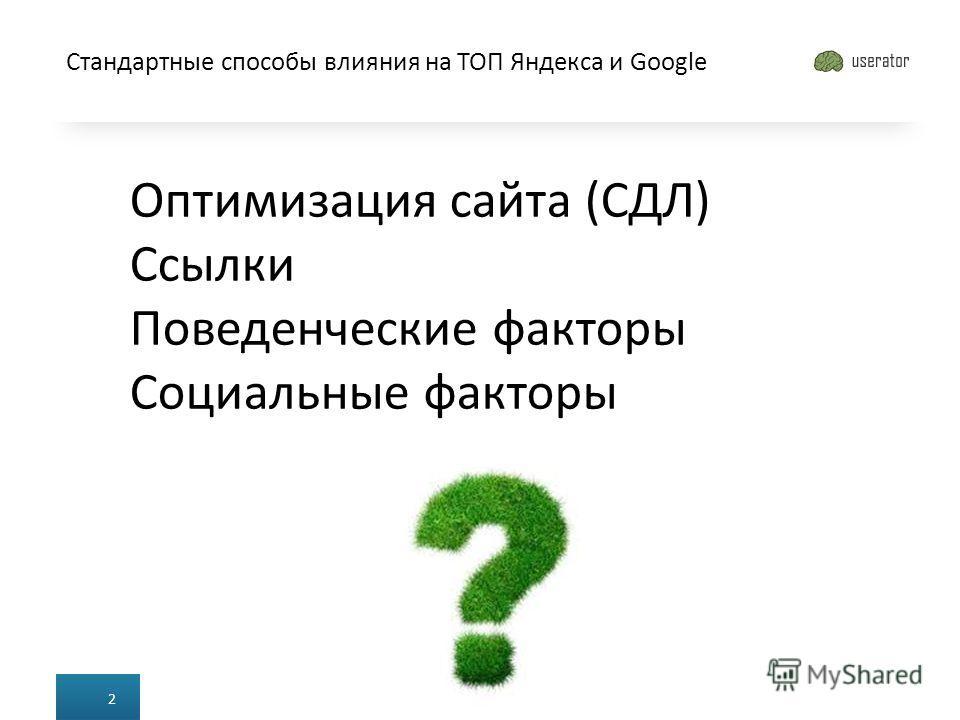 Стандартные способы влияния на ТОП Яндекса и Google 2 Оптимизация сайта (СДЛ) Ссылки Поведенческие факторы Социальные факторы