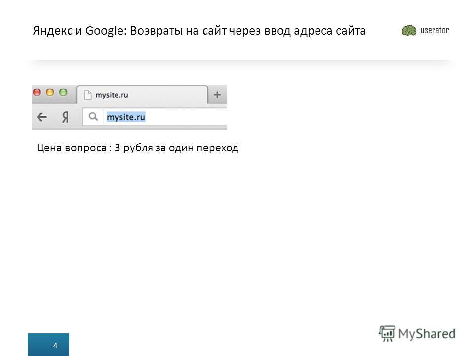 Яндекс и Google: Возвраты на сайт через ввод адреса сайта 4 Цена вопроса : 3 рубля за один переход