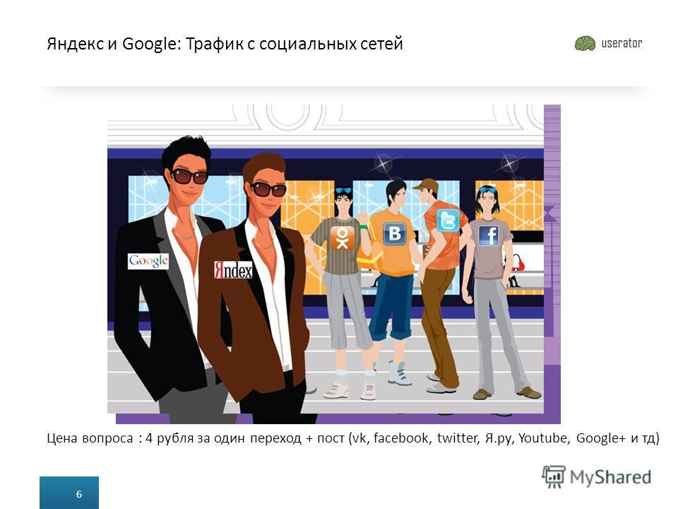 Яндекс и Google: Трафик с социальных сетей 6 Цена вопроса : 4 рубля за один переход + пост (vk, facebook, twitter, Я.ру, Youtube, Google+ и тд)