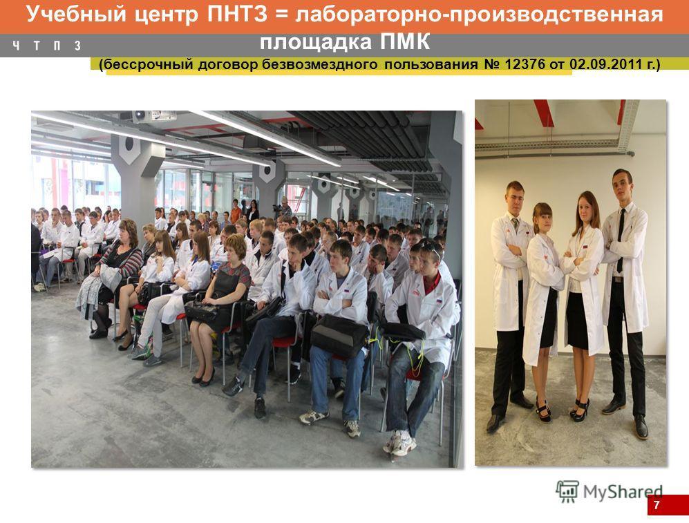 7 Учебный центр ПНТЗ = лабораторно-производственная площадка ПМК (бессрочный договор безвозмездного пользования 12376 от 02.09.2011 г.)