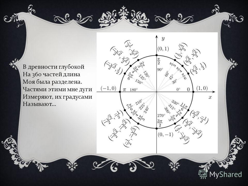 В древности глубокой На 360 частей длина Моя была разделена. Частями этими мне дуги Измеряют, их градусами Называют …