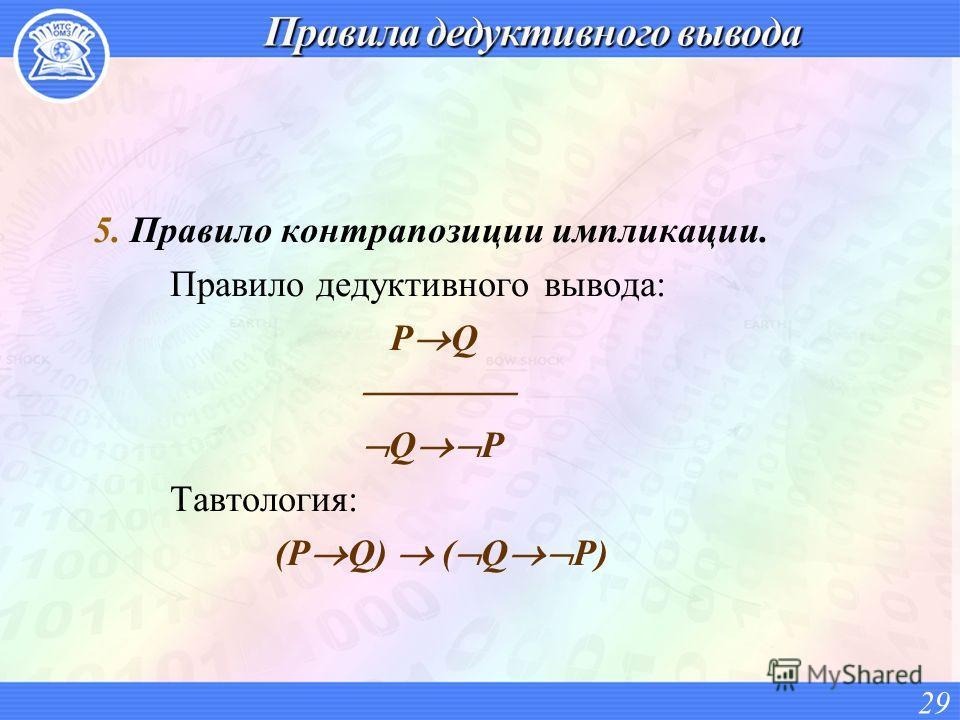 5. Правило контрапозиции импликации. Правило дедуктивного вывода: P Q Q P Тавтология: (P Q) ( Q P) 29