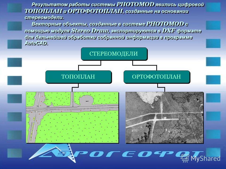 Результатом работы системы PHOTOMOD явились цифровой ТОПОПЛАН и ОРТОФОТОПЛАН, созданные на основании стереомодели. Векторные объекты, созданные в системе PHOTOMOD с помощью модуля Stereo Draw, экспортируются в DXF формате для дальнейшей обработки соб