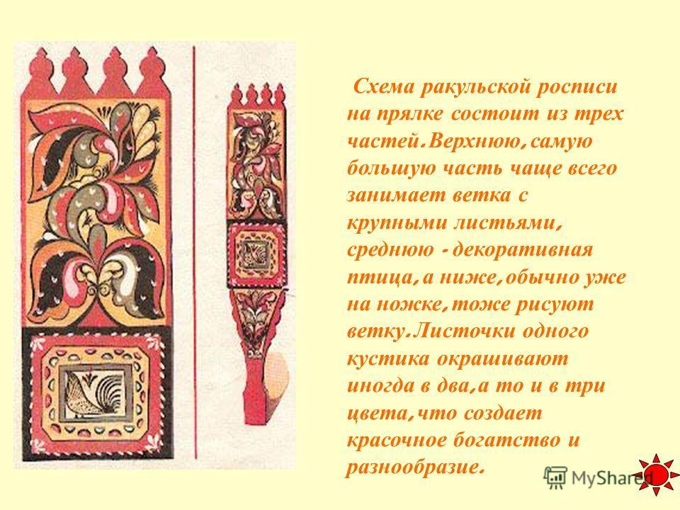 Схема ракульской росписи на прялке состоит из трех частей. Верхнюю, самую большую часть чаще всего занимает ветка с крупными листьями, среднюю - декоративная птица, а ниже, обычно уже на ножке, тоже рисуют ветку. Листочки одного кустика окрашивают ин