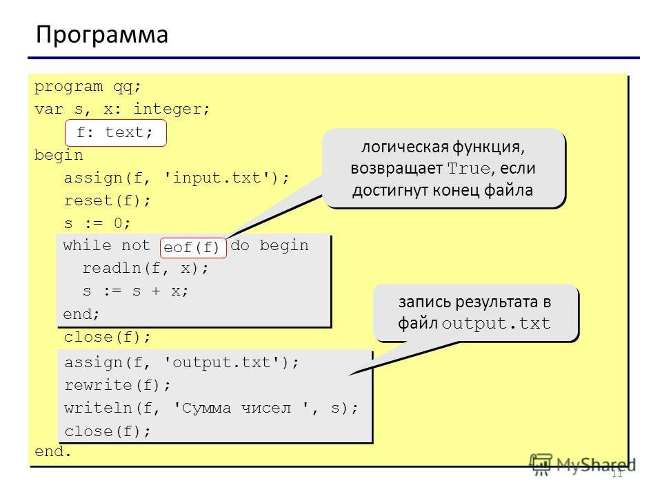 11 Программа program qq; var s, x: integer; f: text; begin assign(f, 'input.txt'); reset(f); s := 0; close(f); end. program qq; var s, x: integer; f: text; begin assign(f, 'input.txt'); reset(f); s := 0; close(f); end. while not eof(f) do begin readl