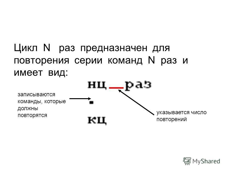 Цикл N раз предназначен для повторения серии команд N раз и имеет вид: указывается число повторений записываются команды, которые должны повторятся