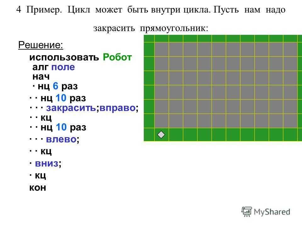 4 Пример. Цикл может быть внутри цикла. Пусть нам надо закрасить прямоугольник: Решение: использовать Робот алг поле нач · нц 6 раз · · нц 10 раз · · · закрасить;вправо; · · кц · · нц 10 раз · · · влево; · · кц · вниз; · кц кон