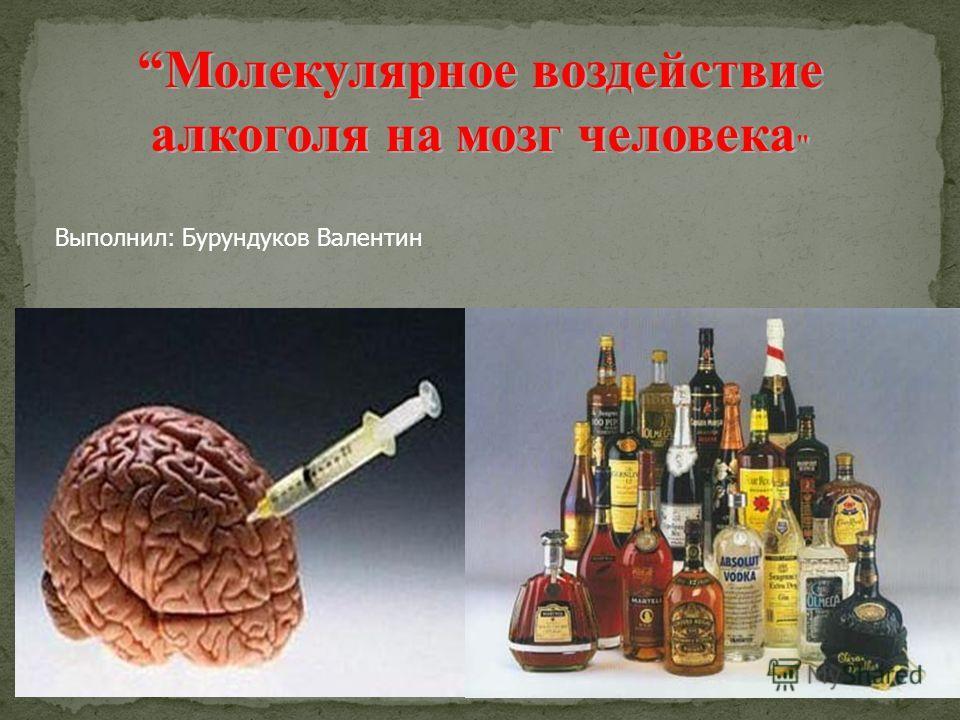 Молекулярное воздействие алкоголя на мозг человека  Выполнил: Бурундуков Валентин