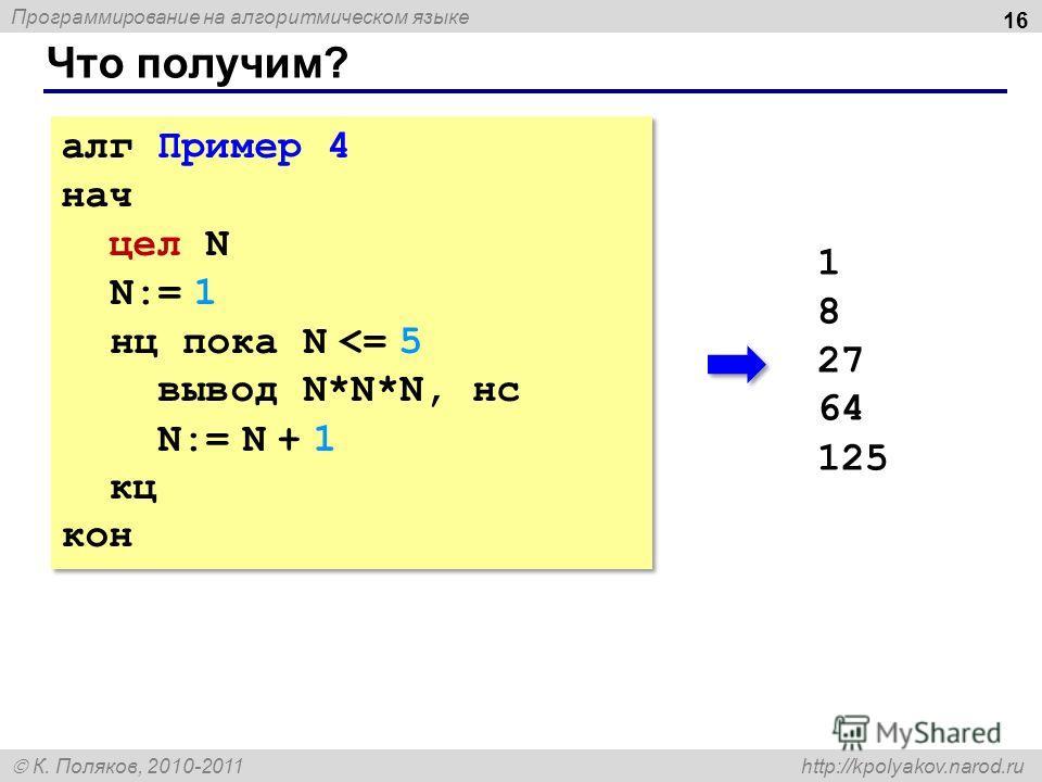 Программирование на алгоритмическом языке К. Поляков, 2010-2011 http://kpolyakov.narod.ru Что получим? 16 алг Пример 4 нач цел N N:= 1 нц пока N
