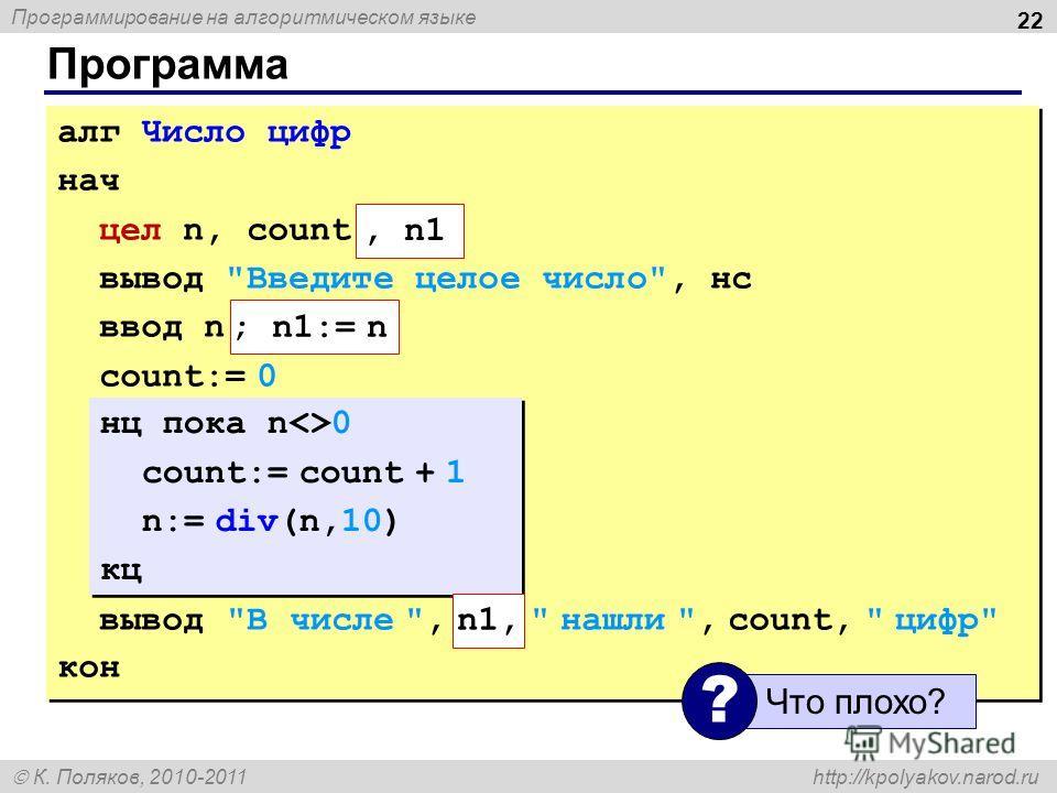 Программирование на алгоритмическом языке К. Поляков, 2010-2011 http://kpolyakov.narod.ru Программа 22 алг Число цифр нач цел n, count вывод