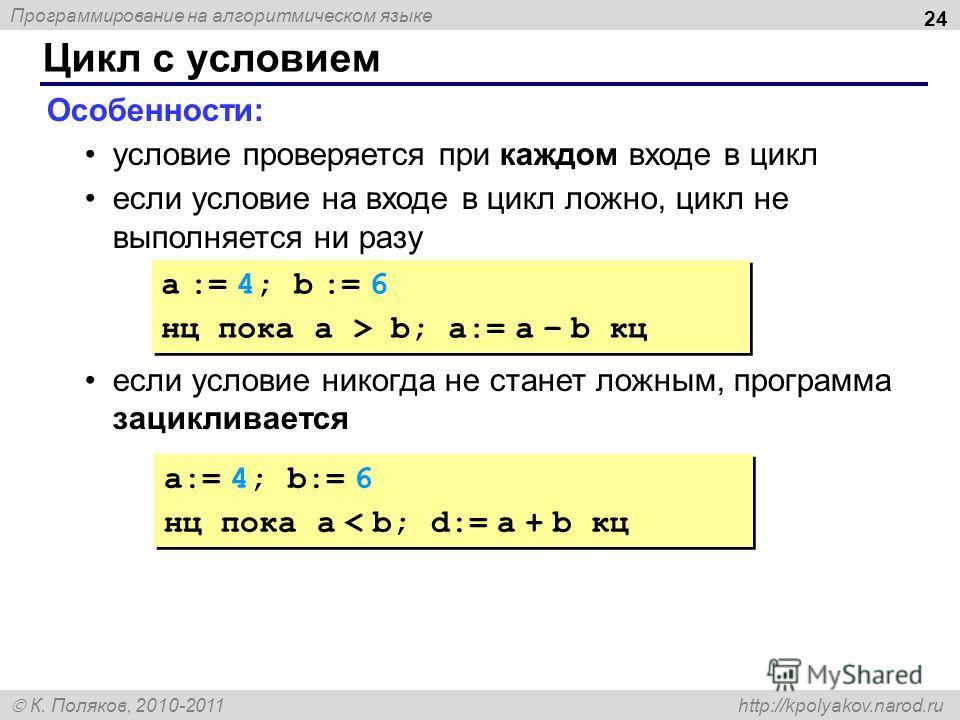 Программирование на алгоритмическом языке К. Поляков, 2010-2011 http://kpolyakov.narod.ru Цикл с условием 24 Особенности: условие проверяется при каждом входе в цикл если условие на входе в цикл ложно, цикл не выполняется ни разу если условие никогда