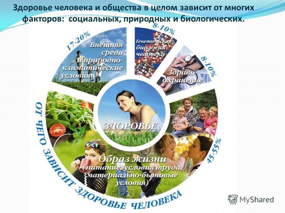 Здоровье человека и общества в целом зависит от многих факторов: социальных, природных и биологических.