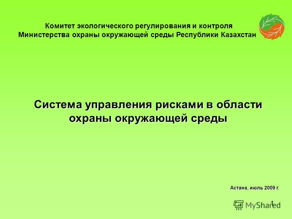 Система управления рисками в области охраны окружающей среды Астана, июль 2009 г. Комитет экологического регулирования и контроля Министерства охраны окружающей среды Республики Казахстан 1