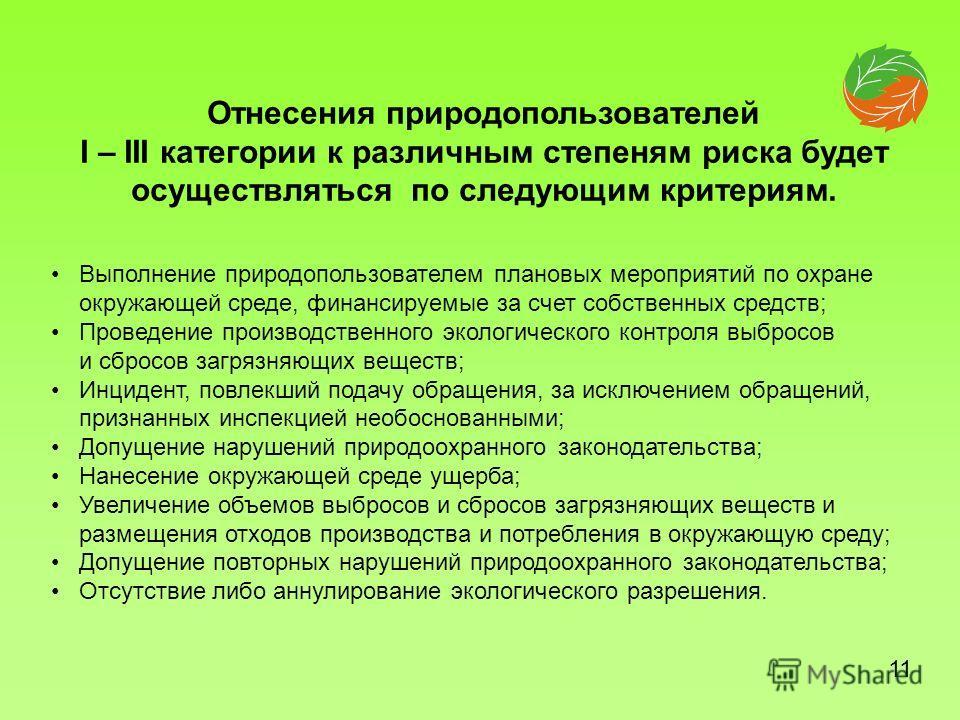 Выполнение природопользователем плановых мероприятий по охране окружающей среде, финансируемые за счет собственных средств; Проведение производственного экологического контроля выбросов и сбросов загрязняющих веществ; Инцидент, повлекший подачу обращ