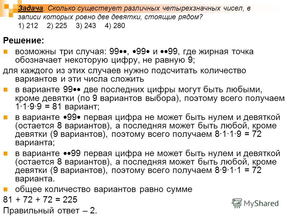 Задача. Сколько существует различных четырехзначных чисел, в записи которых ровно две девятки, стоящие рядом? 1) 2122) 225 3) 2434) 280 Решение: возможны три случая: 99, 99 и 99, где жирная точка обозначает некоторую цифру, не равную 9; для каждого и
