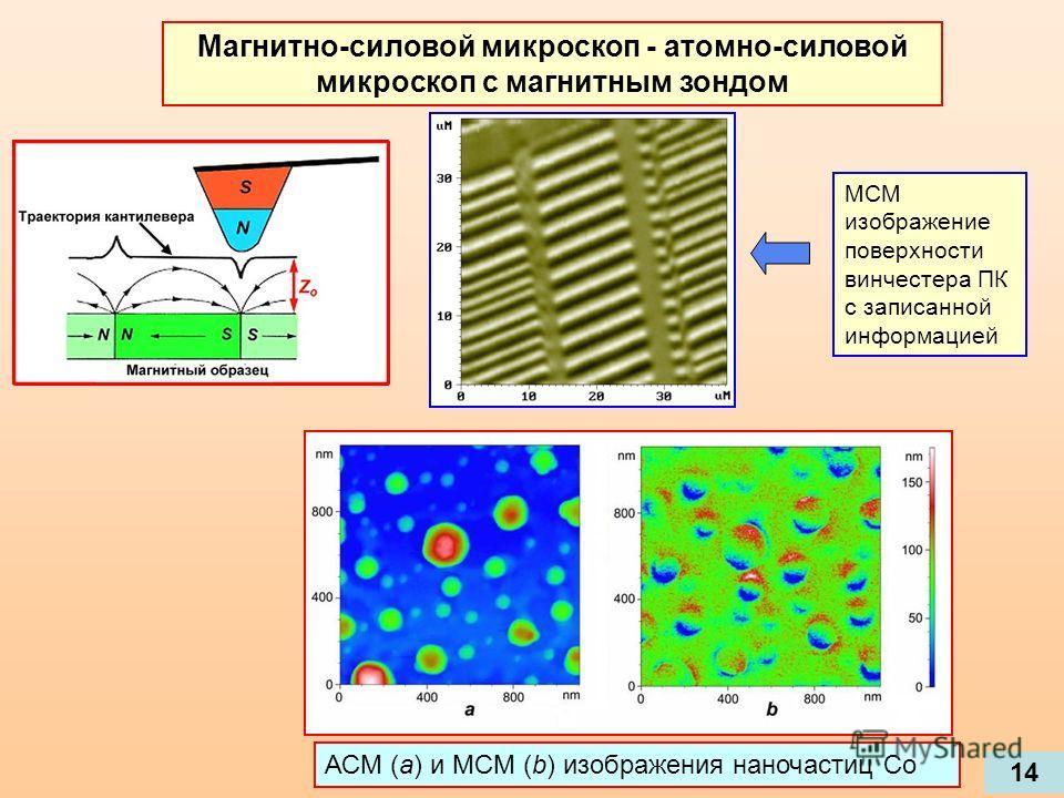 Магнитно-силовой микроскоп - атомно-силовой микроскоп с магнитным зондом 14 МСМ изображение поверхности винчестера ПК с записанной информацией АСМ (а) и МСМ (b) изображения наночастиц Со