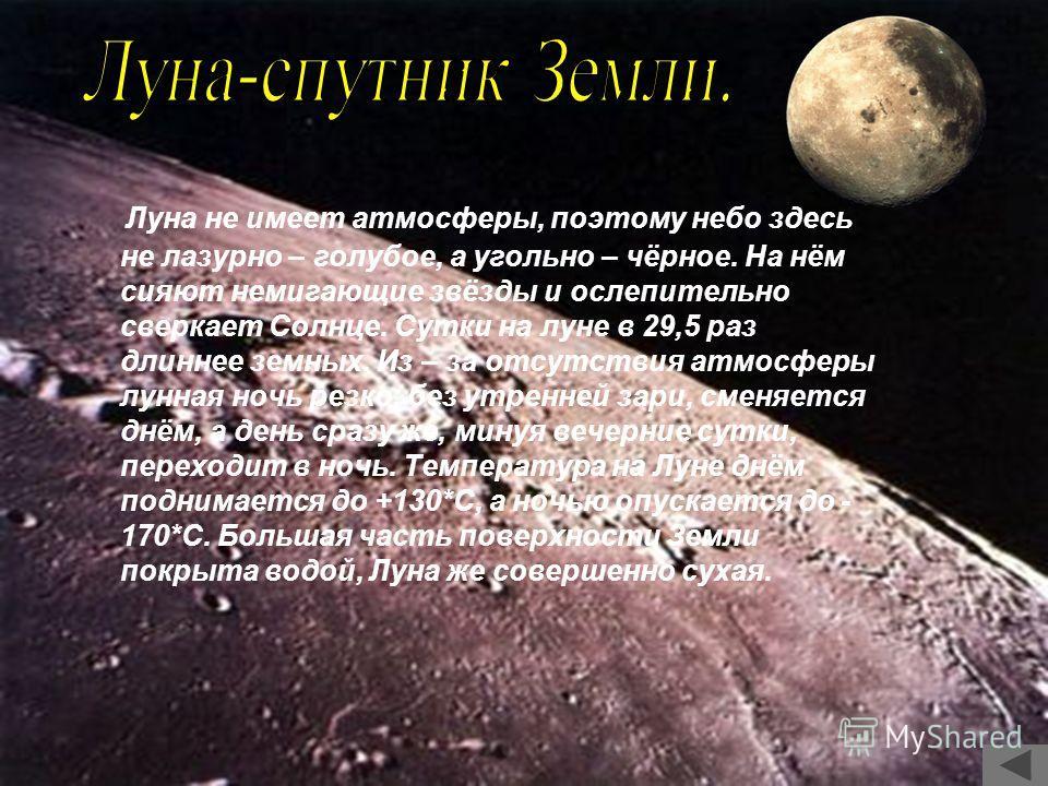 Луна не имеет атмосферы, поэтому небо здесь не лазурно – голубое, а угольно – чёрное. На нём сияют немигающие звёзды и ослепительно сверкает Солнце. Сутки на луне в 29,5 раз длиннее земных. Из – за отсутствия атмосферы лунная ночь резко, без утренней