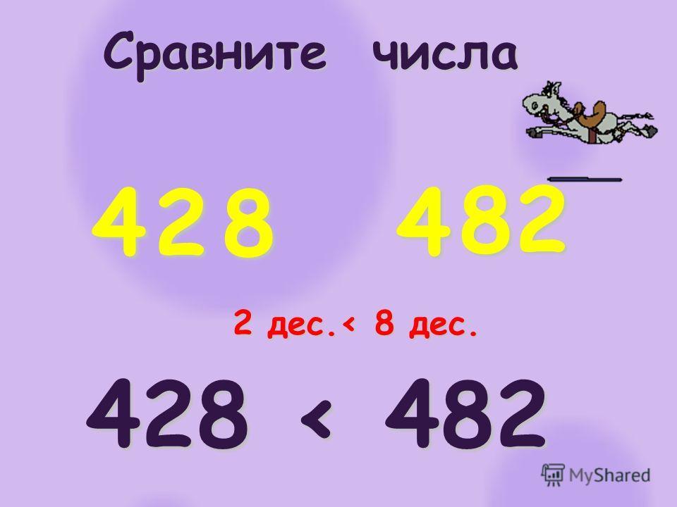Сравните числа 4 428 < 482 284 82 2 дес.< 8 дес.