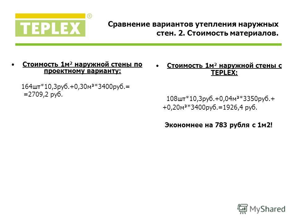 Стоимость 1м 2 наружной стены по проектному варианту: 164шт*10,3руб.+0,30м³*3400руб.= =2709,2 руб. Стоимость 1м 2 наружной стены с TEPLEX: 108шт*10,3руб.+0,04м³*3350руб.+ +0,20м³*3400руб.=1926,4 руб. Экономнее на 783 рубля с 1м2! Сравнение вариантов