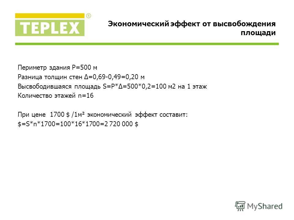 Периметр здания P=500 м Разница толщин стен Δ=0,69-0,49=0,20 м Высвободившаяся площадь S=P*Δ=500*0,2=100 м2 на 1 этаж Количество этажей n=16 При цене 1700 $ /1м² экономический эффект составит: $=S*n*1700=100*16*1700=2 720 000 $ Экономический эффект о