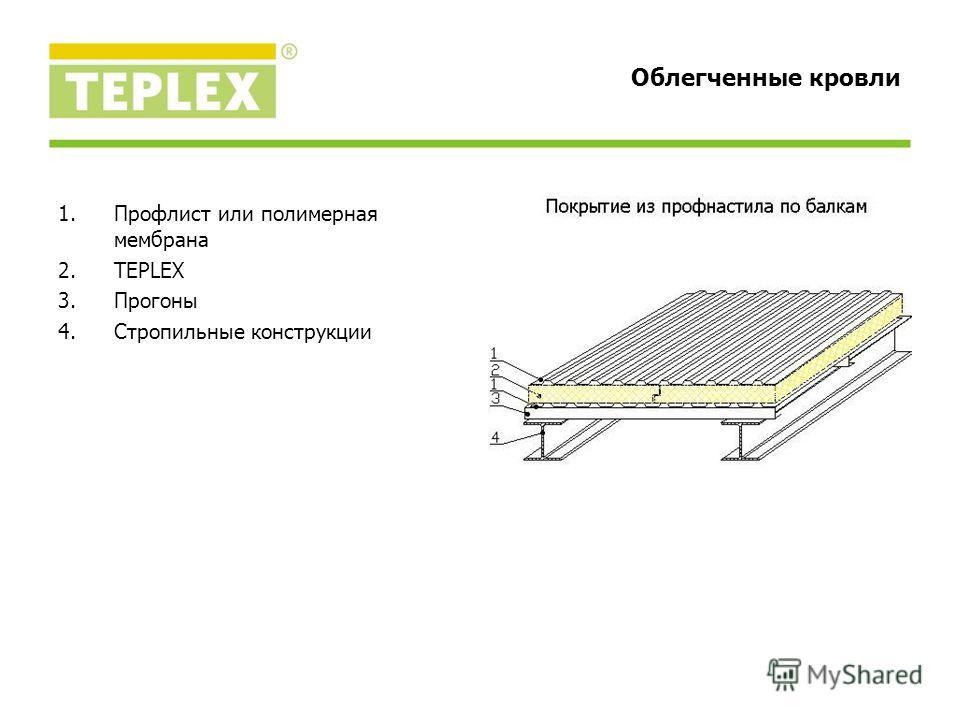 1.Профлист или полимерная мембрана 2.TEPLEX 3.Прогоны 4.Стропильные конструкции Облегченные кровли