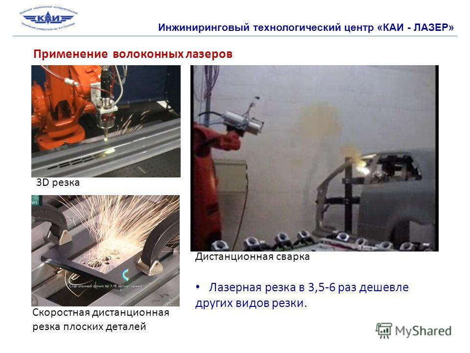 Инжиниринговый технологический центр «КАИ - ЛАЗЕР» Применение волоконных лазеров 3D резка Дистанционная сварка Скоростная дистанционная резка плоских деталей Лазерная резка в 3,5-6 раз дешевле других видов резки.