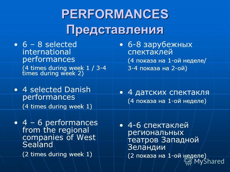 PERFORMANCES Представления 6 – 8 selected international performances (4 times during week 1 / 3-4 times during week 2) 4 selected Danish performances (4 times during week 1) 4 – 6 performances from the regional companies of West Sealand (2 times duri