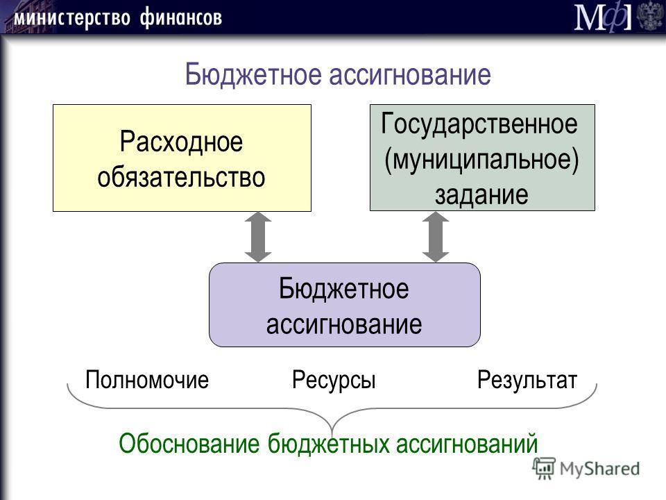 Бюджетное ассигнование Расходное обязательство Государственное (муниципальное) задание Бюджетное ассигнование Полномочие Ресурсы Результат Обоснование бюджетных ассигнований