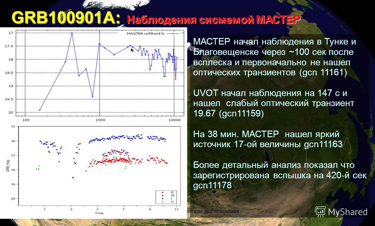 Ученые МГУ и космические исследования 2009 GRB100901A: Наблюдения сисмемой МАСТЕР МАСТЕР начал наблюдения в Тунке и Благовещенске через ~100 сек после всплеска и первоначально не нашел оптических транзиентов (gcn 11161) UVOT начал наблюдения на 147 с