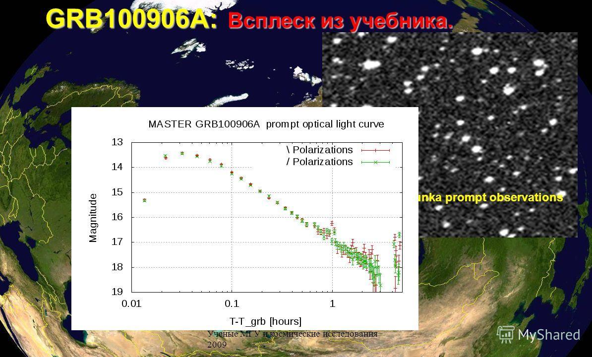 Ученые МГУ и космические исследования 2009 GRB100906A: Всплеск из учебника. MASTER Tunka prompt observations