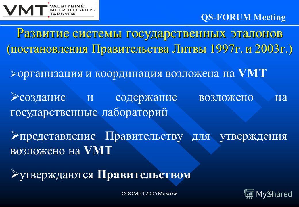 COOMET 2005 Moscow12 Развитие системы государственных эталонов (постановления Правительства Литвы 1997г. и 2003г.) QS-FORUM Meeting организация и координация возложена на VMT создание и содержание возложено на государственные лабораторий представлени