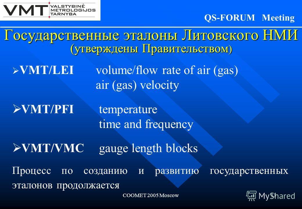 COOMET 2005 Moscow13 Государственные эталоны Литовского НМИ (утверждены Правительством ) QS-FORUM Meeting VMT/LEI volume/flow rate of air (gas) air (gas) velocity VMT/PFI temperature time and frequency VMT/VMC gauge length blocks Процесс по созданию