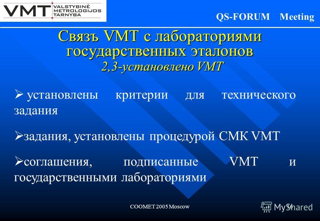 COOMET 2005 Moscow16 Связъ VMT с лабораториями государственных эталонов 2,3-установлено VMT установлены критерии для технического задания задания, установлены процедурой СМК VMT соглашения, подписанные VMT и государственными лабораториями QS-FORUM Me