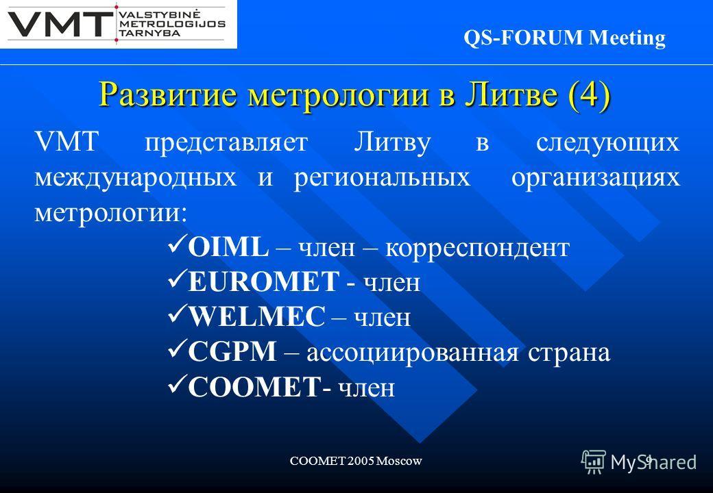 COOMET 2005 Moscow9 VMT представляет Литву в следующих международных и региональных организациях метрологии: OIML – член – корреспондент EUROMET - член WELMEC – член CGPM – ассоциированная страна COOMET- член Развитие метрологии в Литве (4) QS-FORUM
