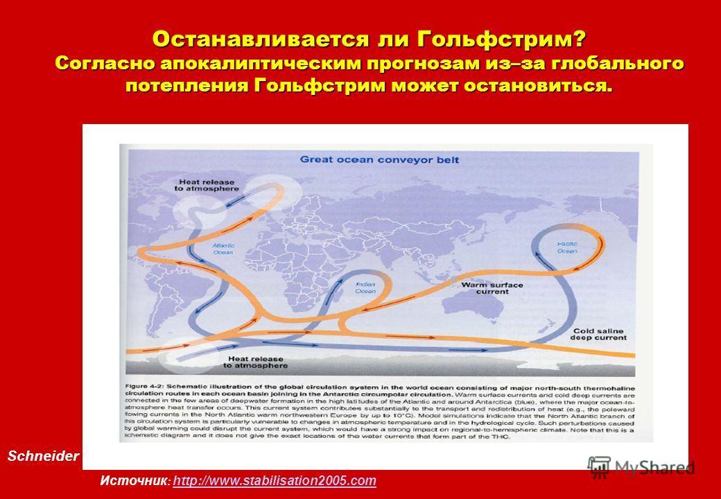Schneider Останавливается ли Гольфстрим? Согласно апокалиптическим прогнозам из–за глобального потепления Гольфстрим может остановиться. Источник : http://www.stabilisation2005.com http://www.stabilisation2005.com