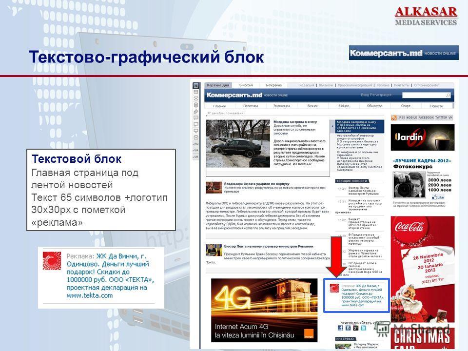 Текстово-графический блок Текстовой блок Главная страница под лентой новостей Текст 65 символов +логотип 30х30px с пометкой «реклама»