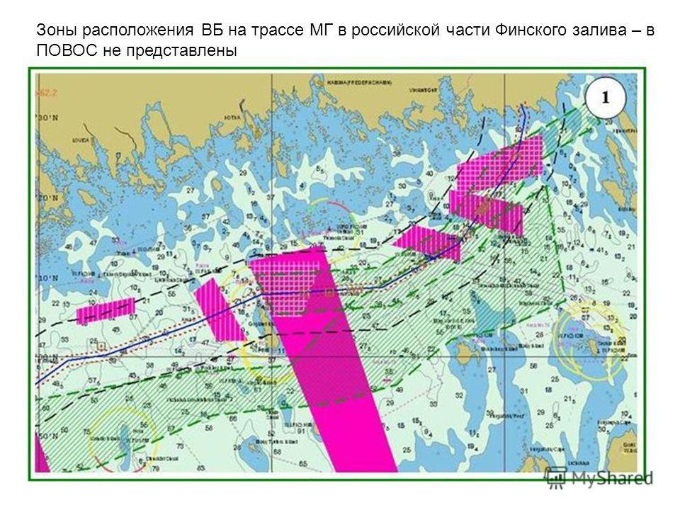 Зоны расположения ВБ на трассе МГ в российской части Финского залива – в ПОВОС не представлены