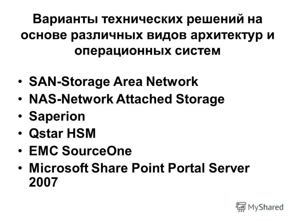 Варианты технических решений на основе различных видов архитектур и операционных систем SAN-Storage Area Network NAS-Network Attached Storage Saperion Qstar HSM EMC SourceOne Microsoft Share Point Portal Server 2007