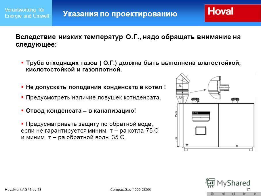Verantwortung für Energie und Umwelt Hovalwerk AG / Nov-13CompactGas (1000-2800)17 Указания по проектированию Вследствие низких температур О.Г., надо обращать внимание на следующее: Труба отходящих газов ( О.Г.) должна быть выполнена влагостойкой, ки