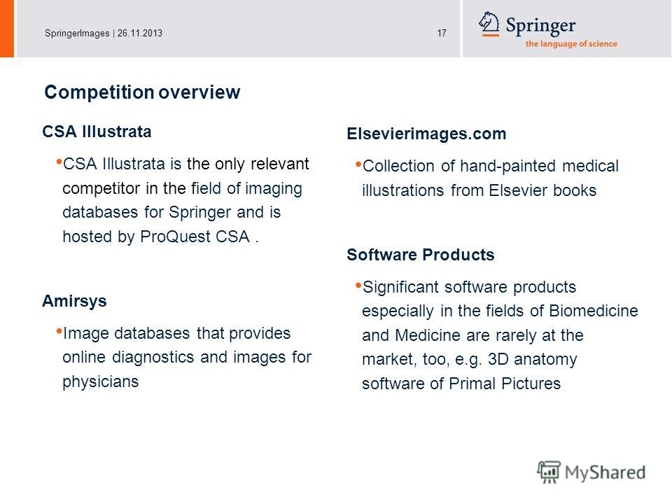 SpringerImages | 26.11.201317 CSA Illustrata CSA Illustrata is the only relevant competitor in the field of imaging databases for Springer and is hosted by ProQuest CSA. Amirsys Image databases that provides online diagnostics and images for physicia