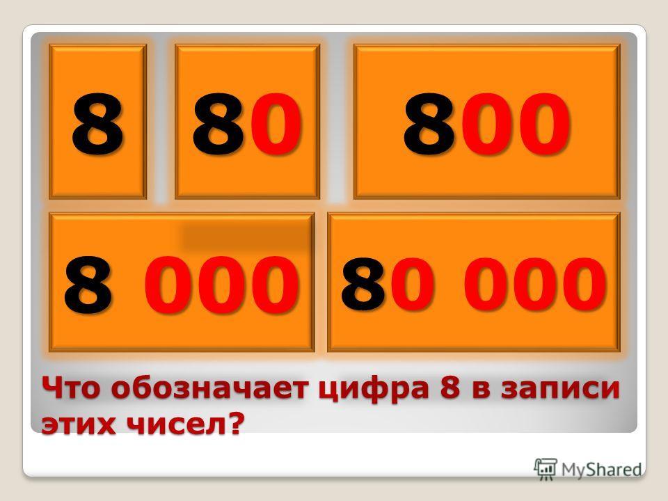 Что обозначает цифра 8 в записи этих чисел? 8 8 000 80808080 800 80 000